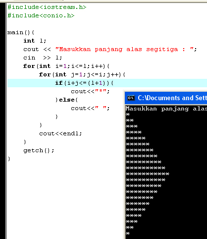 Tampilan Program Segitiga Miring dengan C++