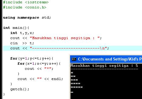 Tampilan Segitiga Siku - Siku dengan C++