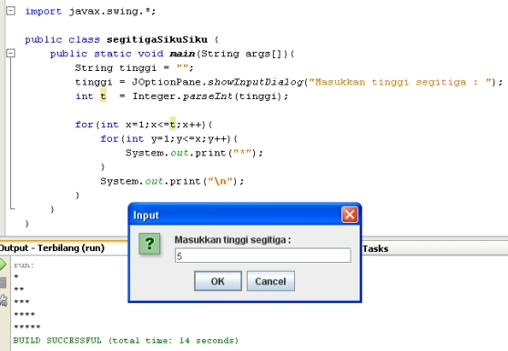 Program Segitiga Siku Siku dengan Java